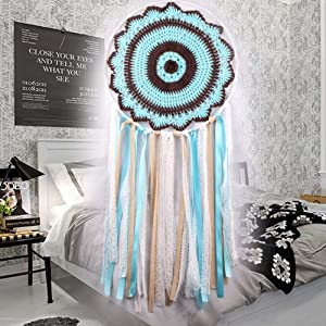 Chavis Blue Lace Tassels Handmade Dream Catcher Wind Chimes Wall Hanging Dreamcatcher Craft Gift Home Car Decor India Style Dream Catch