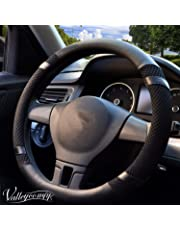 Valleycomfy Steering Wheel Cover, Microfiber Leather Viscose, Breathable, Anti-Slip, Odorless, Warm in Winter Cool in Summer, Universal 15 Inches (Black)