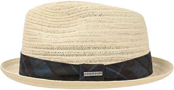Stetson Sombrero Checked Band Toyo Hombre de Verano Playa Paja Primavera//Verano