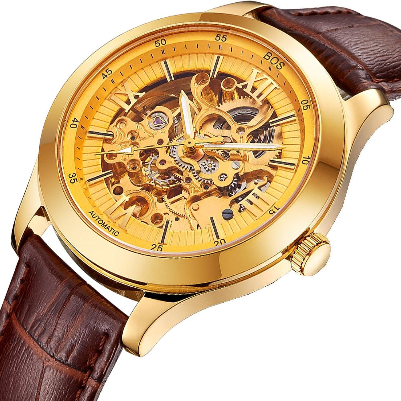 BOS Herren Automatikuhr Automatik mechanischen Wasserdicht Skeleton goldene Uhr mit Brown Lede Band