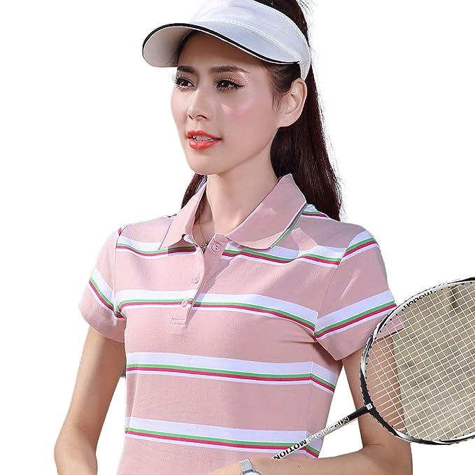 HM. Camisa De Polo Para Mujer Camisa De Polo Deportiva Con Solapa De Algodón Camisa