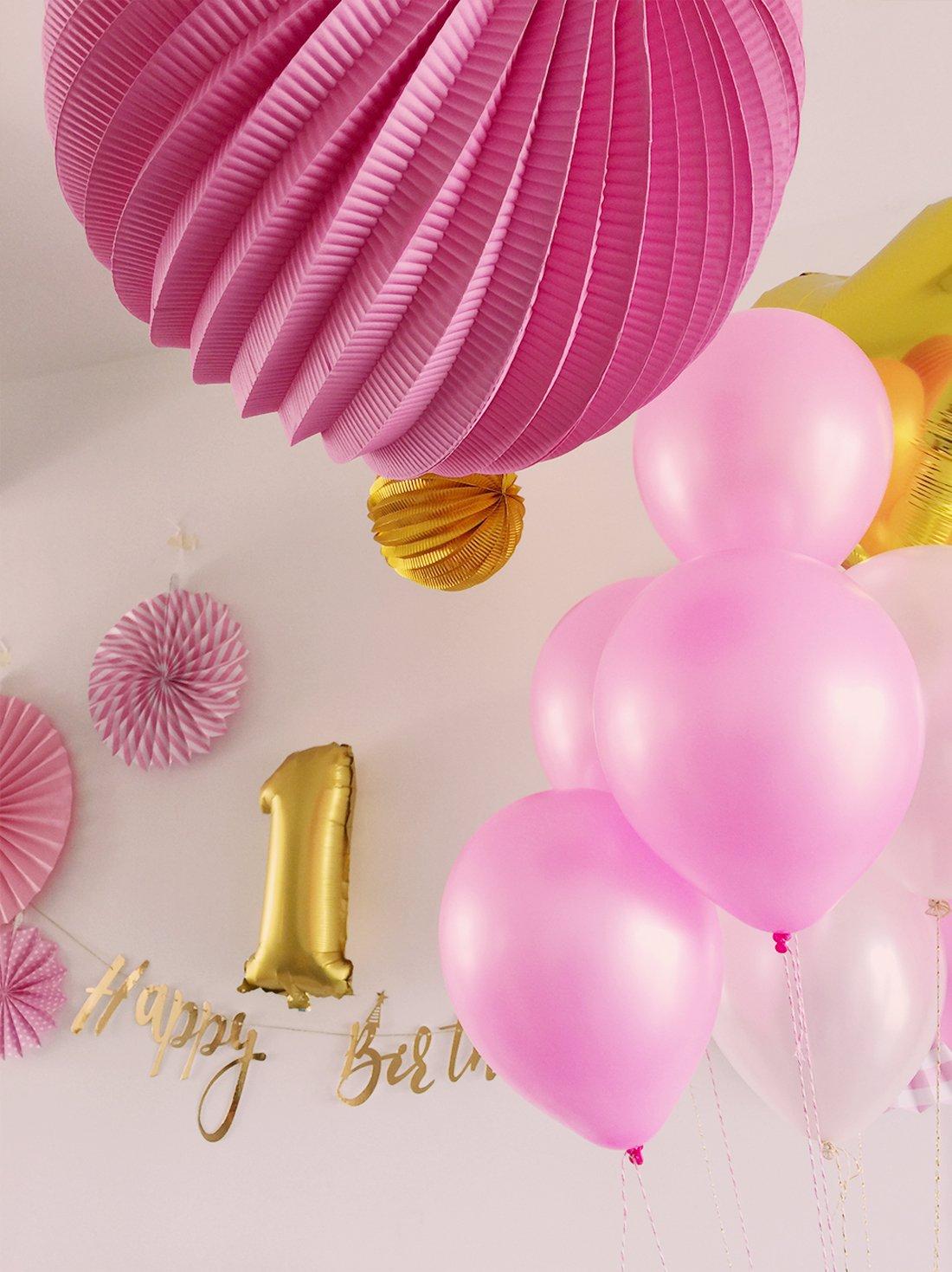 29pcs Easy Joy Anniversaire 1 an Fille Rose Ballon Decoration Anniversaire Fille Happy Birthday Banderole Or