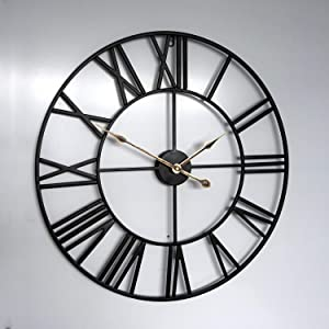 """Large Wall Clock, 24"""" Round Oversized Ancient Roman Numeral Style Home Décor Analog Metal Clock-Indoor Silent Battery Operated Metal Country Farmhouse Decorative Wall Clock for Home(Black &Gold)"""