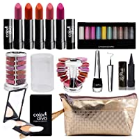 adbeni Combo Makeup Set (10 Color Eyeshadow,Eyeliner Lipgloss Pallet 12 Color,Kajal,Compact Powder,Lipstick-4 Pcs)