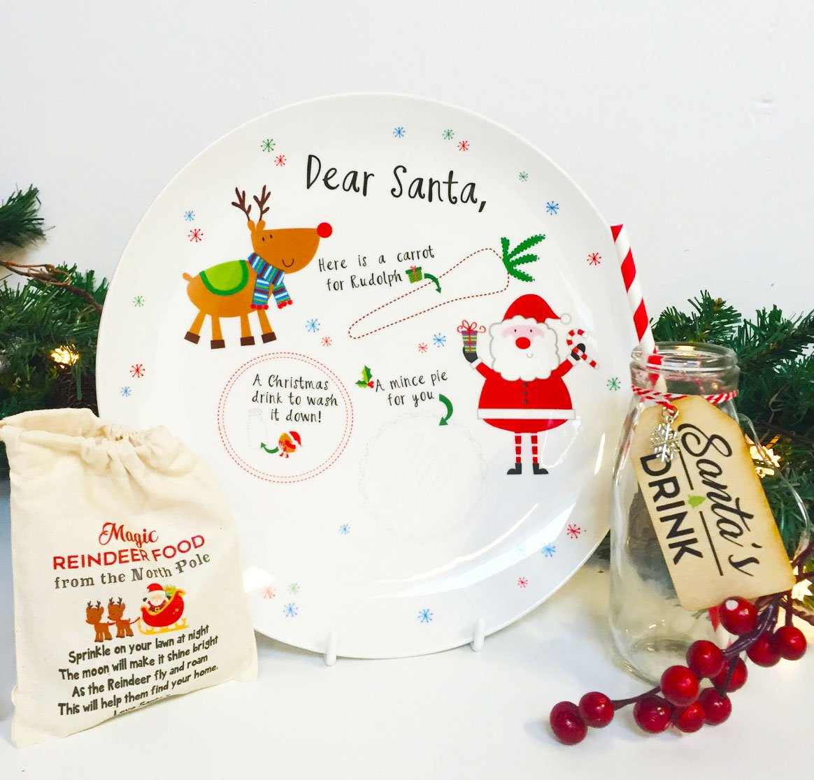Santa and Rudolph Treat Plate Christmas Eve Personalised *FREE POSTAGE*