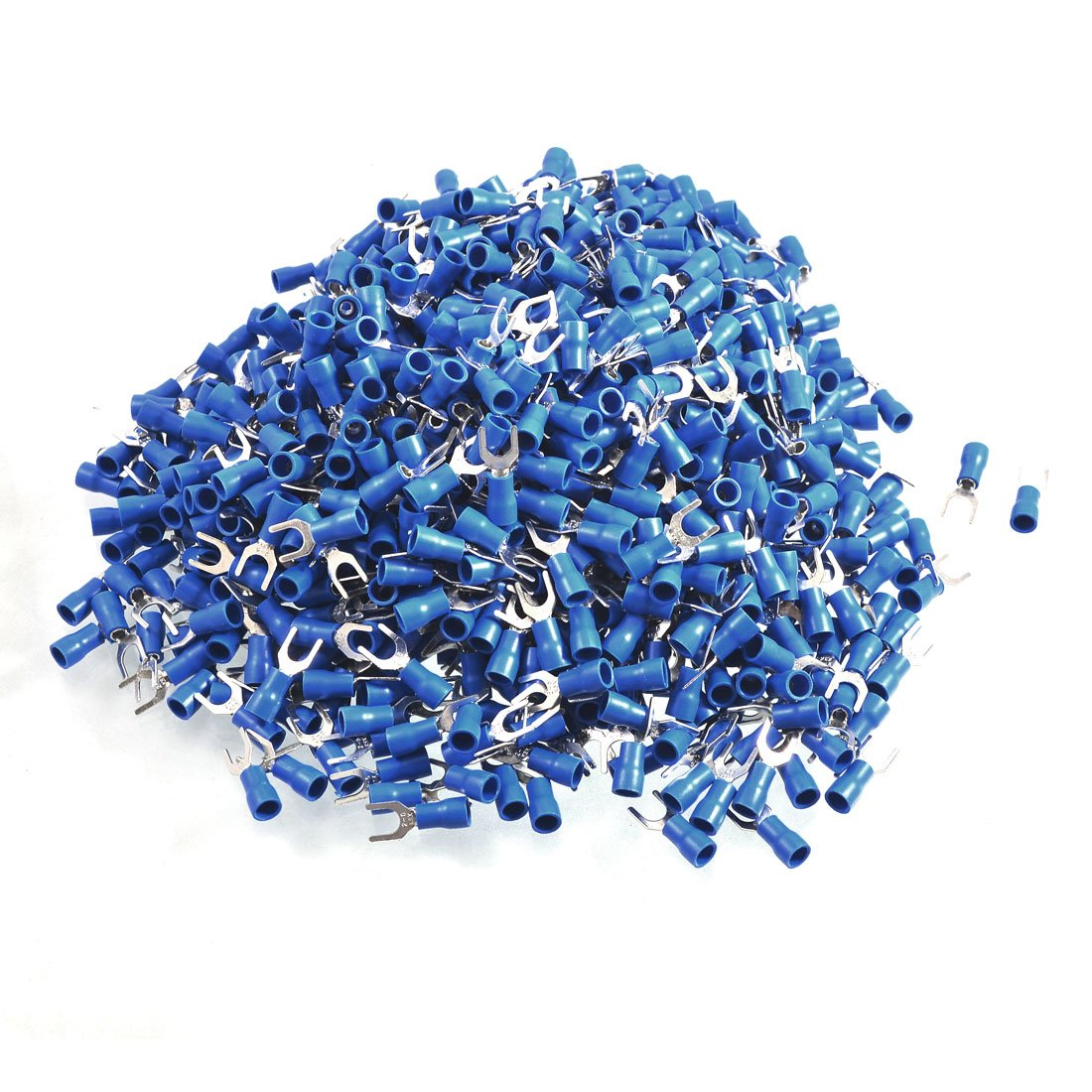 uxcell 1000 Pcs SV2-5 AWG 16-14 Blue Pre Insulated Fork Terminals Connector