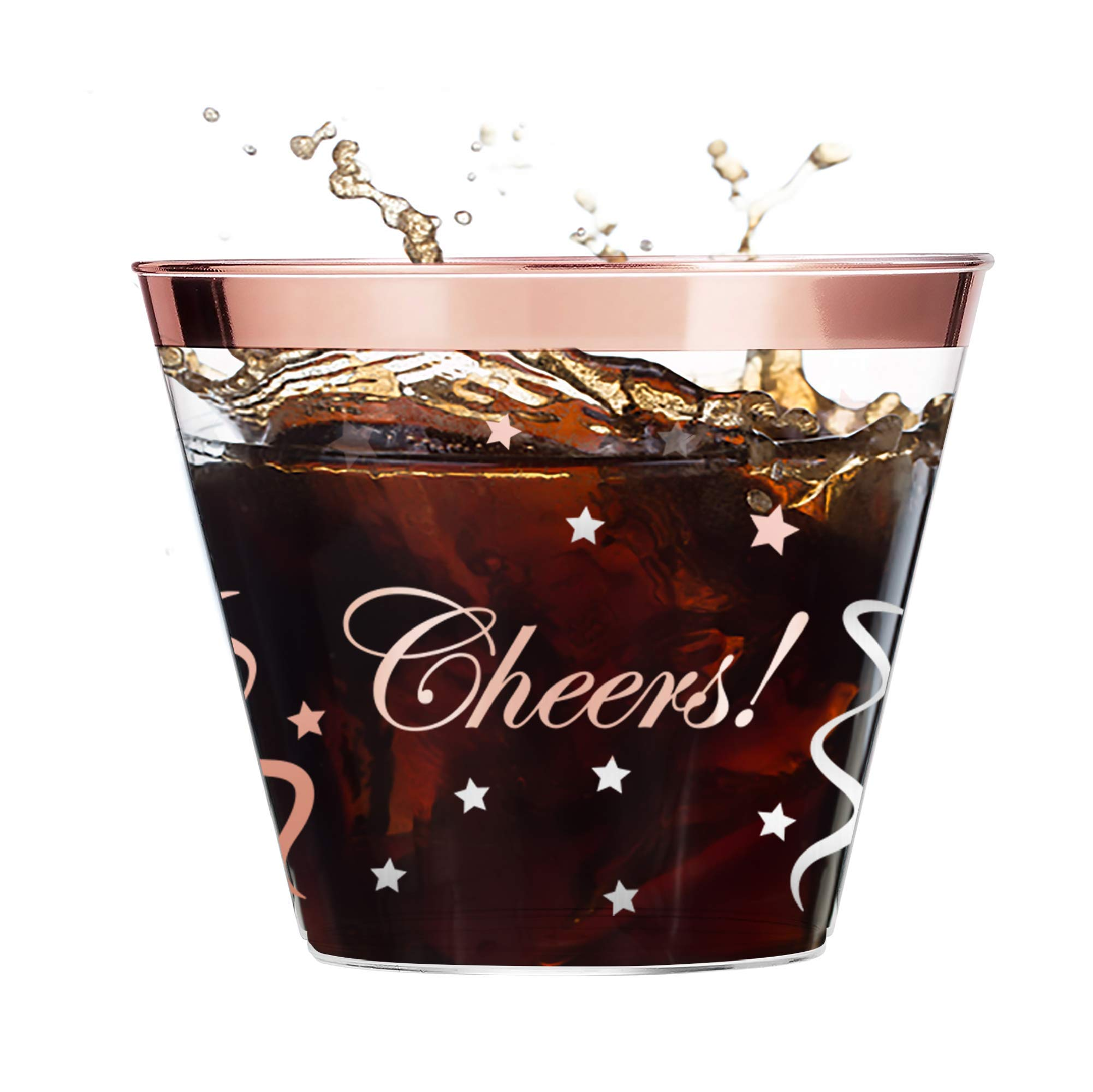 Premium 100 Rose gold rimmed plastic cups''Cheers and Confetti design'' 9oz Clear Plastic wedding Glasses great for any holiday, birthday, and wedding by NSinc