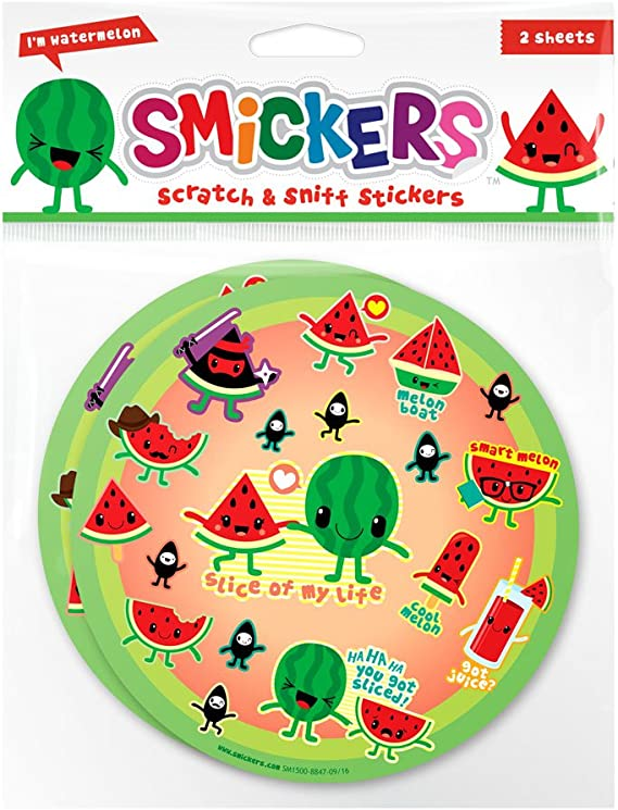 36 Scratch /& Sniff Stickers Smickers Scentco Lemon-Lime Sheets