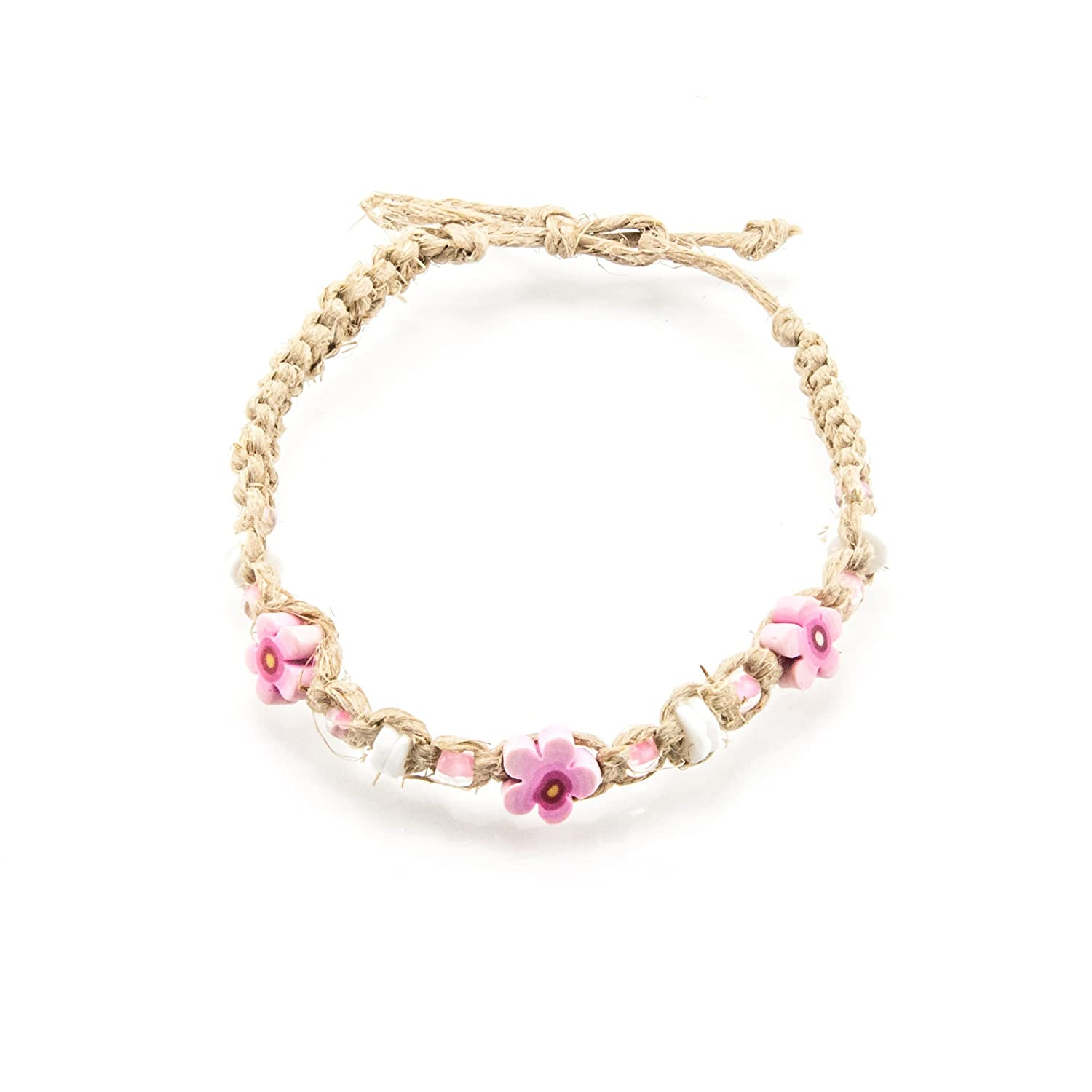 BlueRica Hemp Anklet Bracelet with Puka Shells Glass Beads and Pink Fimo Flowers