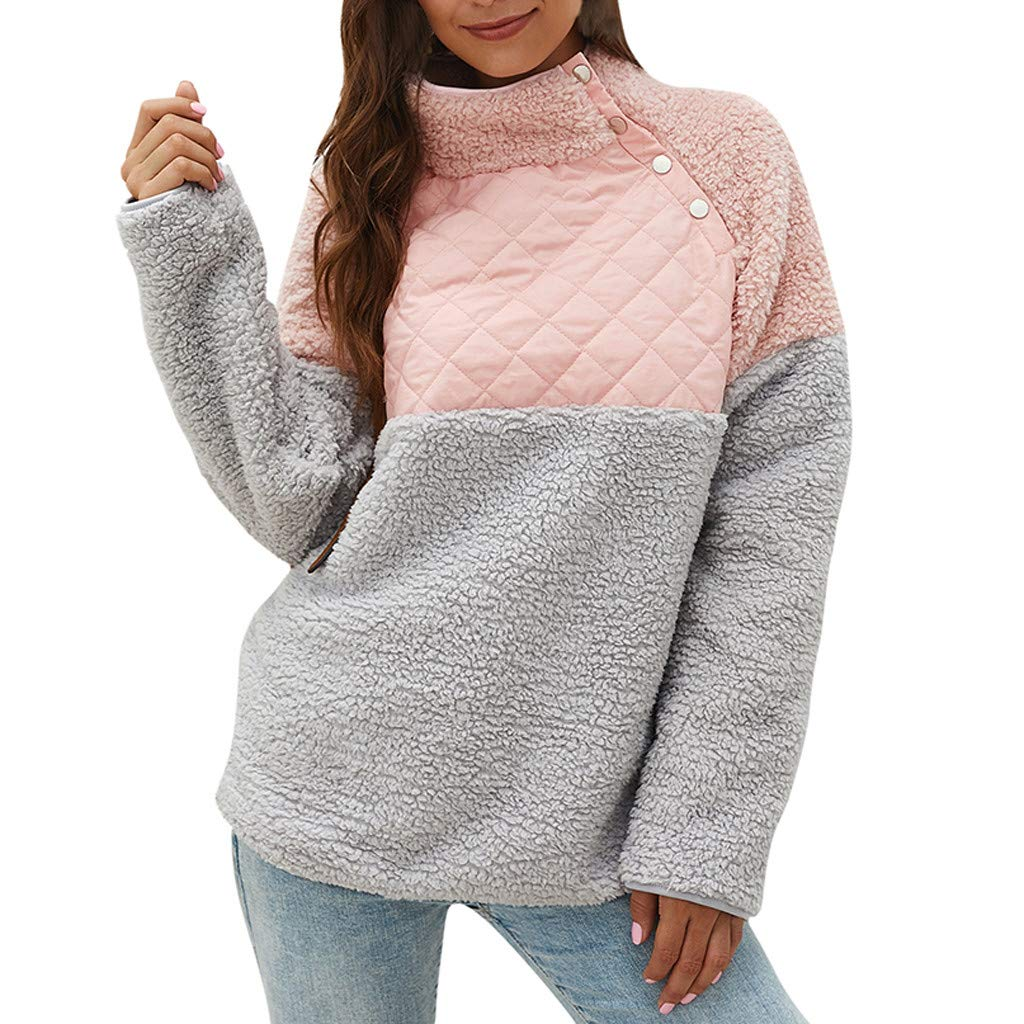 WUAI-Women Casual Button Neck Fleece Sherpa Pullover Sweatshirt Fuzzy Sweater Jackets Outwear(Pink,X-Large by WUAI-Women