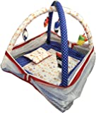 Teeny Weeny Baby Kick and Play Gym with Mosquito Net and Baby Bedding Set (Dark Blue Dot)