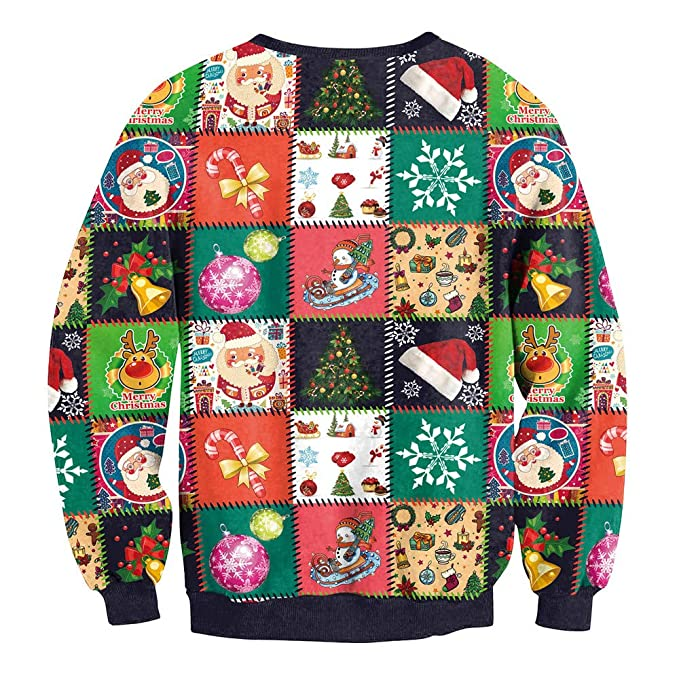 Women Funny Cartoon Print Ugly Christmas Sweater Crewneck Sweatshirt Xmas  Pullover Tops  Clothing 7fa45d7a5