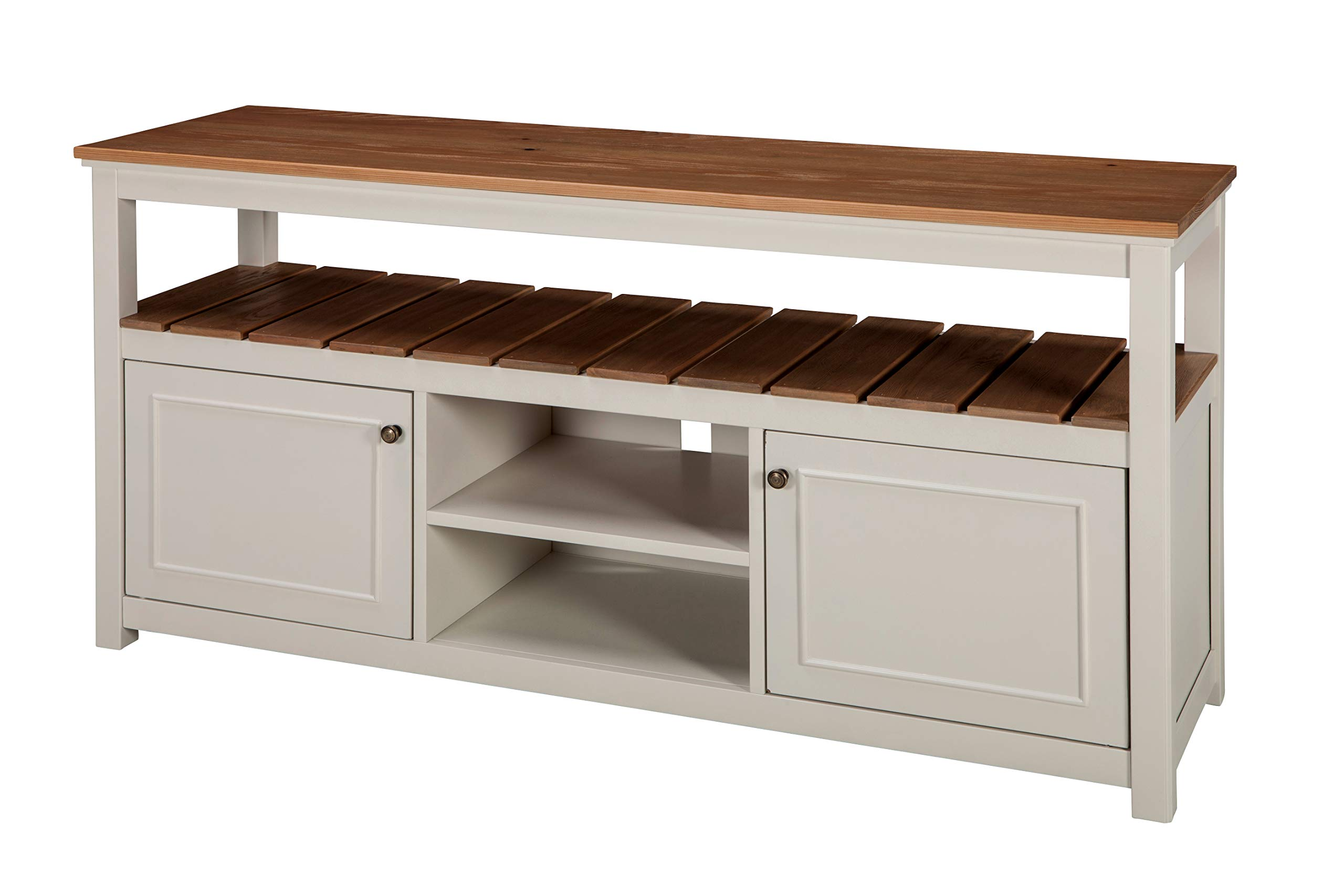 Savannah 2-Door TV Cabinet, Ivory with Natural Wood Top by Alaterre