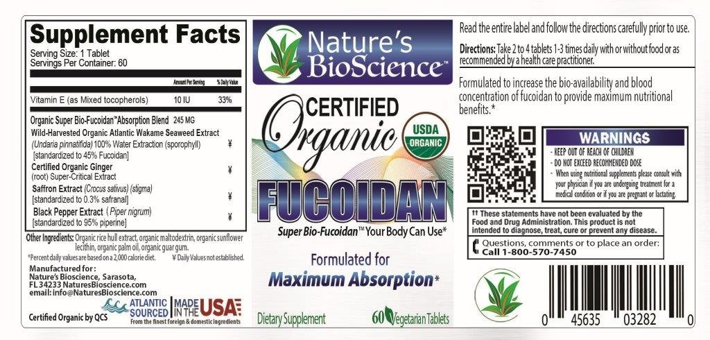 Nature s BioScience Certified USDA Organic Fucoidan Formulated for Maximum Benefits with Bio-Enhancers to Maximize Fucoidan s Absorption into The Blood Stream.