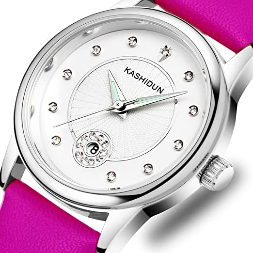 KASHIDUN Womens Watches Gorgeous Womens Watches Casual Quartz Analog Dress Fashion Waterproof Wristwatches Diamonds Dial Purple
