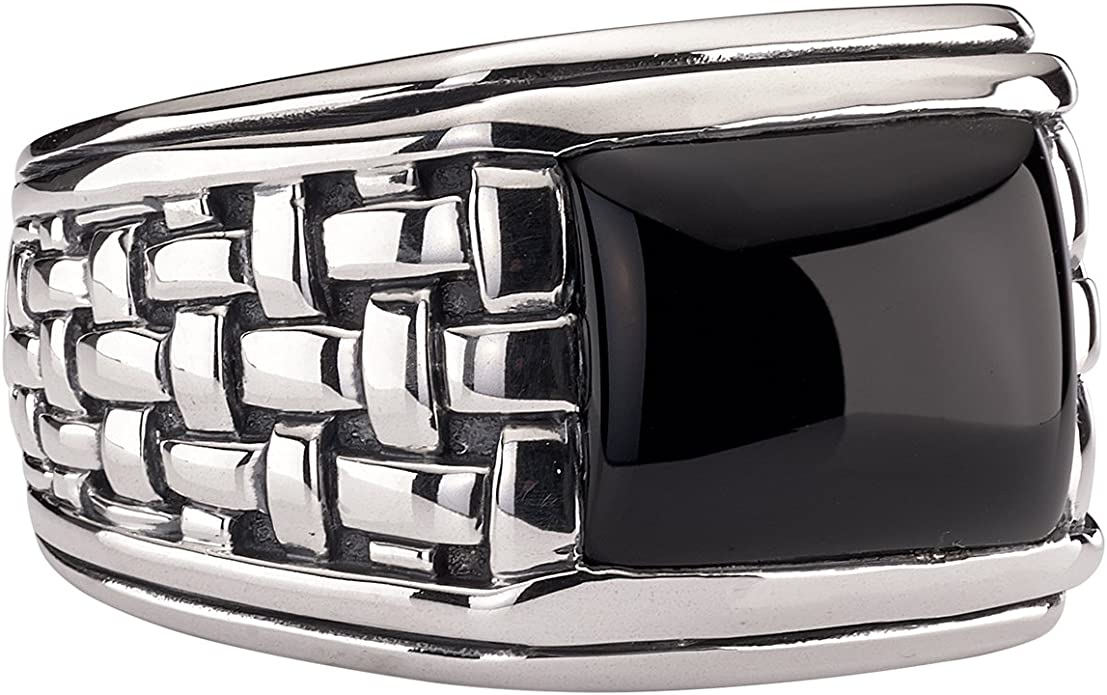 Bishilin Silver Plated Ring for Men with Engraving Totom Partner Rings Silver Size 12.5