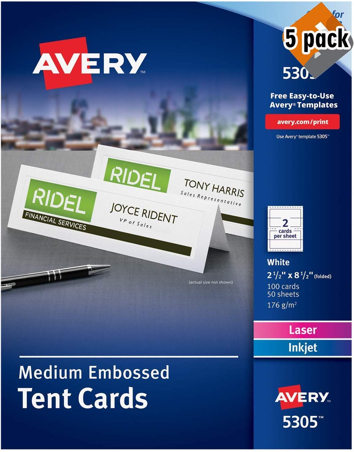 Avery Printable Tent Cards, Laser & Inkjet Printers, 100 Cards, 2.5 x 8.5 (5305) - 5 Pack by AVERY