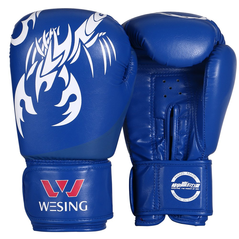 Boxing Gloves MMA Sanda Leather Boxing Gloves for Trainning (Blue) Wesing