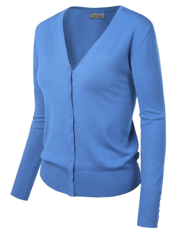 BIADANI Women Button Down Long Sleeve Soft V-Neck Cardigan Sweater Cobalt Large by BIADANI (Image #2)