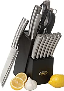 Oster Wellisford High-Carbon Stainless Steel Cutlery Knife Block Set, 14-Piece, Black/Silver