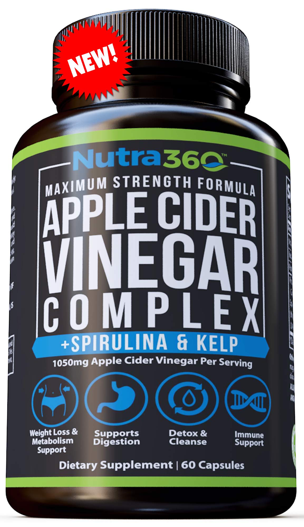 Apple Cider Vinegar Capsules by Nutra360 - Maximum Strength Dietary Supplement with Spirulina & Kelp - Aids Weight Loss, Metabolism, Digestion, Detox, Appetite suppressant- Paleo & Keto Diet Friendly by Nutra360