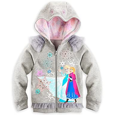 aead59ebb01be Image Unavailable. Image not available for. Color: Disney Store Frozen Anna  Elsa Girl Deluxe Hoodie ...