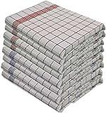 Set di 10strofinacci- 100%cotone lavabile a 95°- resistenti all'ebollizione -Misure 50x 70cm, colore 5blu e 5rossi