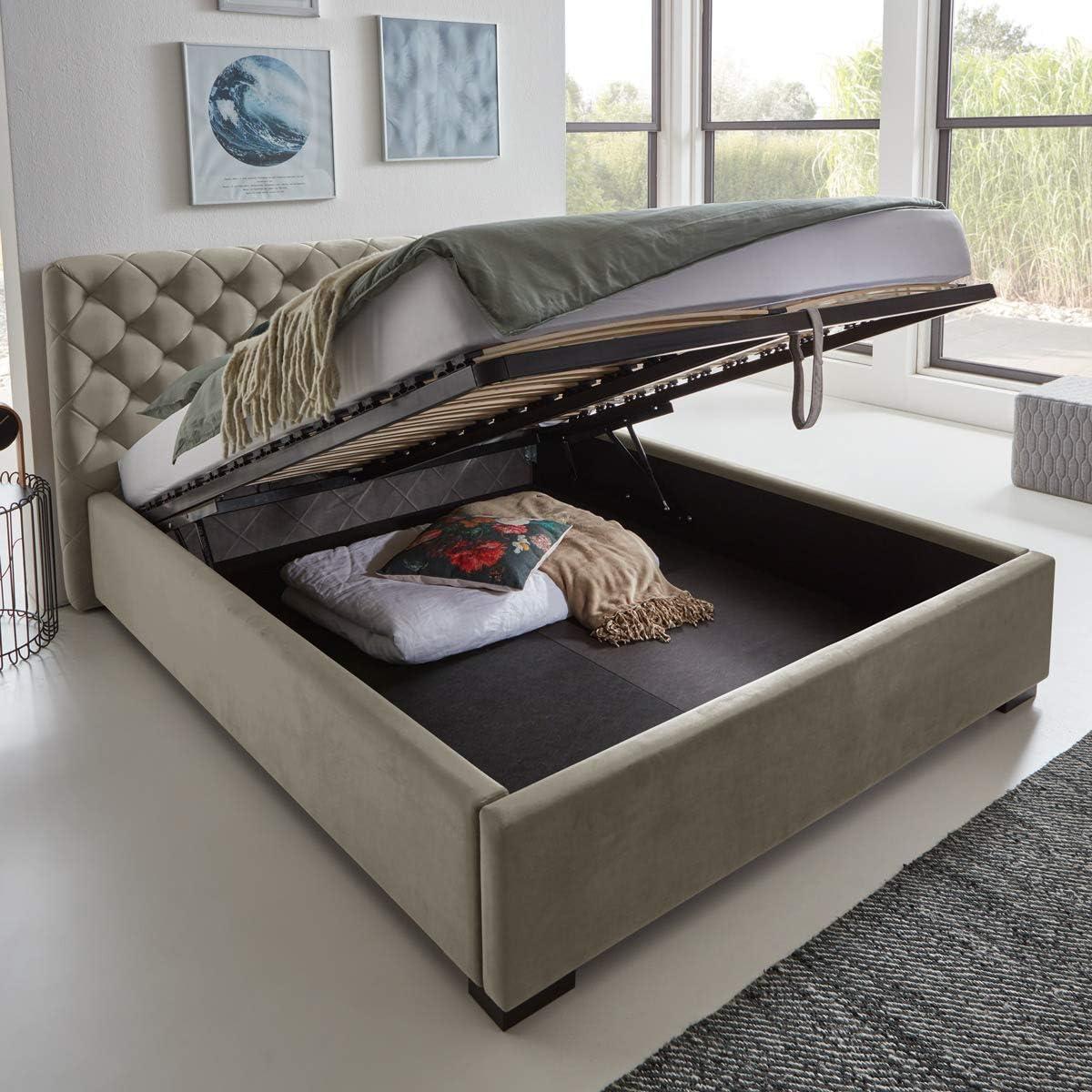 Moebella Elsa - Cama de diseño con cajón, de Terciopelo, con somier de láminas, Espacio de Almacenamiento, pie de Madera, Color Negro