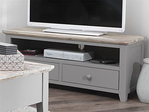 Florence TV unit with 2 drawers. DOVE GREY TV stand with shelf and ...