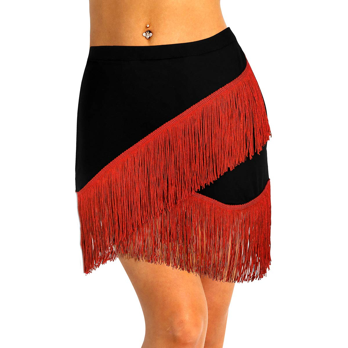 Agoky Falda de Danza Latina para Mujer Bailando Falda con Flecos Borlas Traje de Baile Tango Swing Rumba Cha Cha Bailando Cintura El/ástica