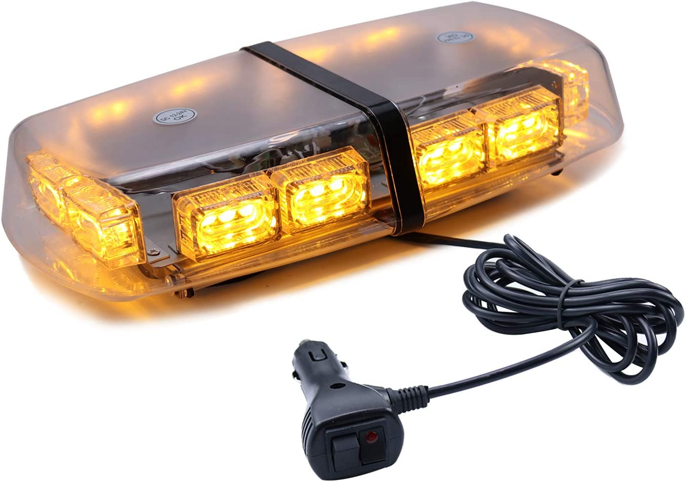 LivTee 16-Modes 36 LED High Intensity Law Enforcement Emergency Hazard Warning LED Mini Bar Strobe Light with Magnetic Base and, Amber Yellow