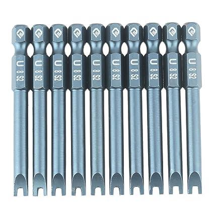 Juego de 10 puntas de destornillador en forma de U, 6,3 mm, 1/4 ...