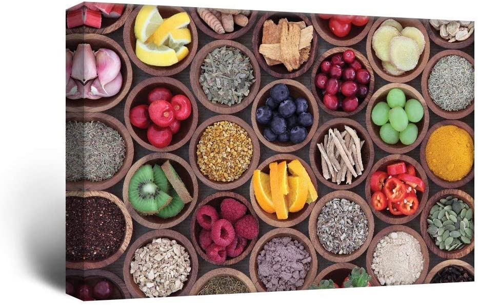 Canvas Wall Art - Colorful Fruits and Seasonings in Bamboo Bowls - Giclee Print Gallery Wrap Modern Home Art Ready to Hang - 12x18 inches