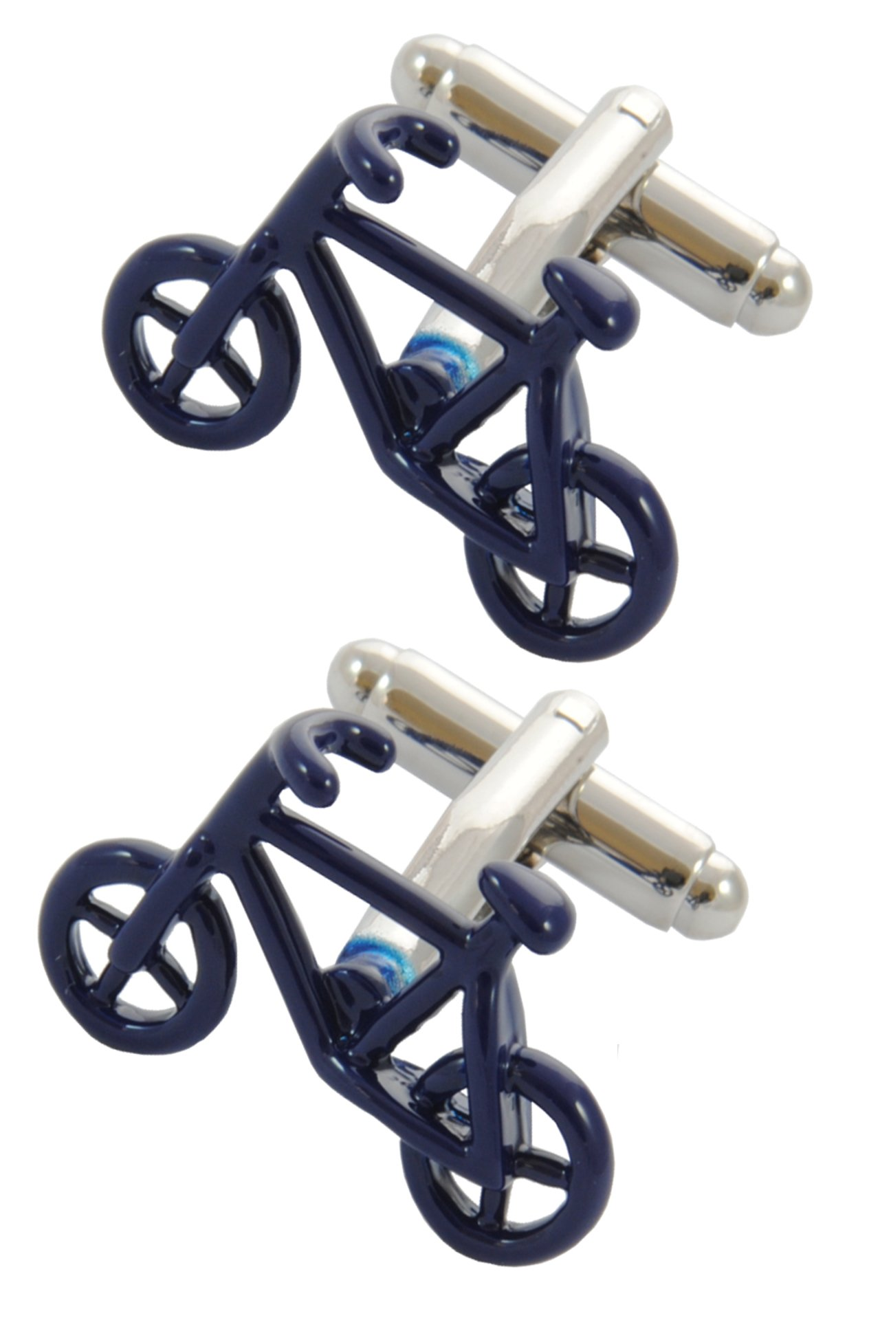 COLLAR AND CUFFS LONDON - Premium Cufflinks with Gift Box - Bicycle - Blue Colour - Cycling - Pedal Bike - Cycle