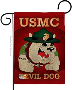 Devil Dog Burlap Garden Flag - Armed Forces Marine Corps USMC Semper Fi United State American Military Veteran Retire Official - House Banner Small Yard Gift Double-Sided Made In USA 13 X 18.5