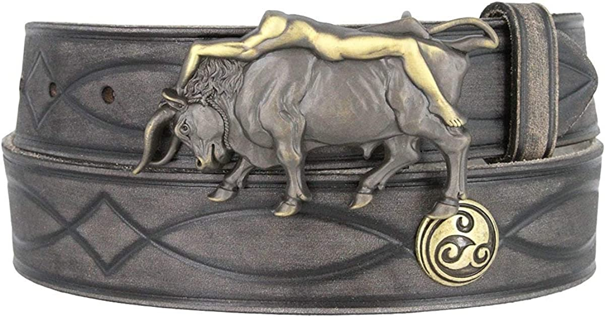 Hagora Men 38 mm Wide Full Grain Leather Celtic Concho Lady On Bull Buckle Belt