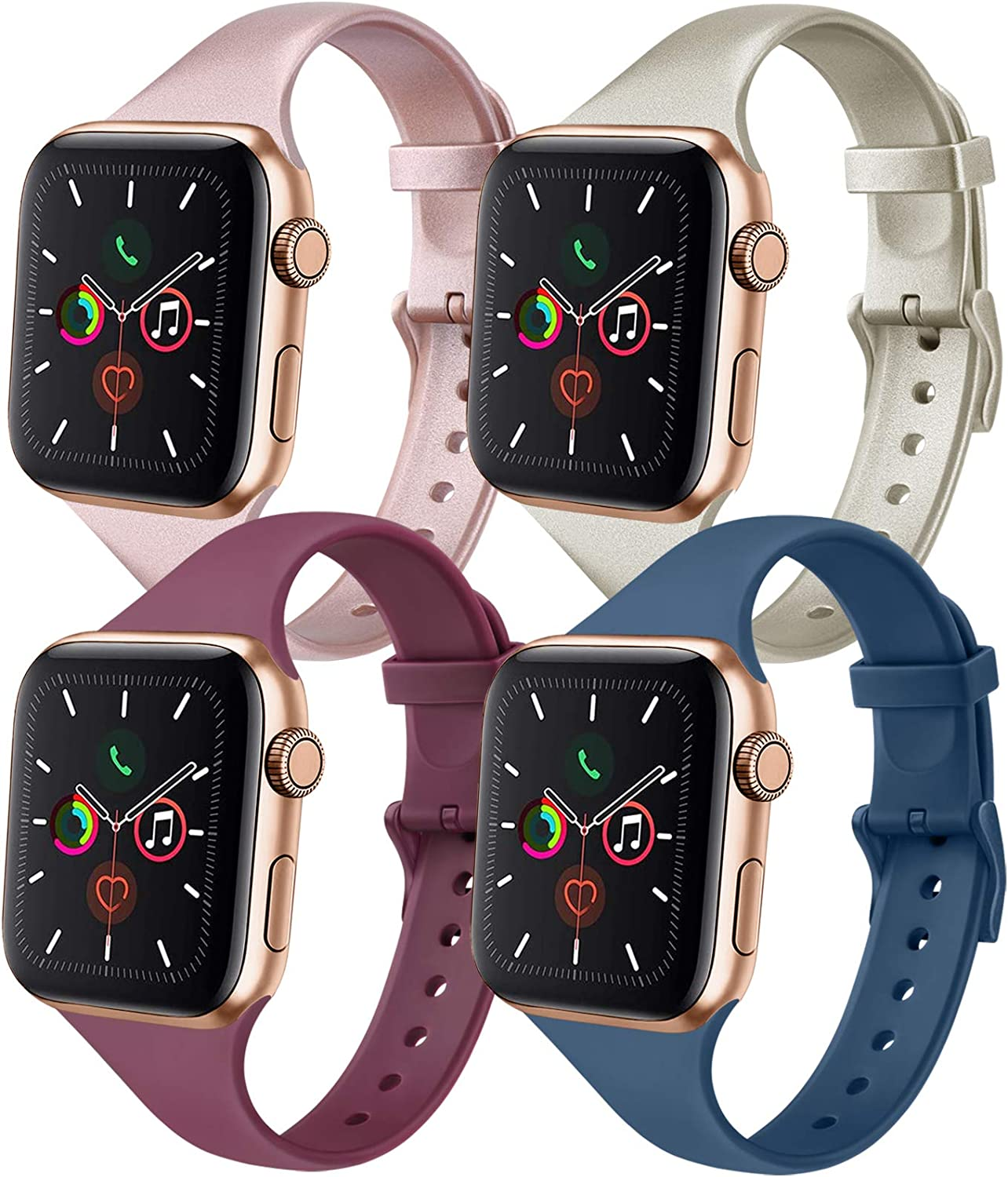 IEOVIEE [Pack 4] Silicone Slim Bands Compatible with Apple Watch Bands 42mm 38mm 44mm 40mm Series 6 5 4 3 & SE, Narrow Replacement Wristbands (Rose Gold/Champagne/Wine Red/Navy Blue, 38mm/40mm S/M)