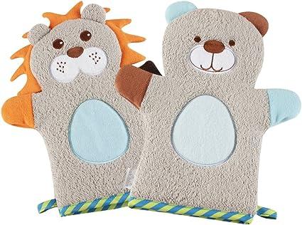 Baby Bath Glove Soft Warm Plush Bath Towel Wash Mitt for Baby Toddler Animal Shape Cartoon Orange Fox