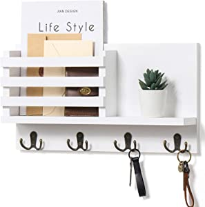 """Mail Holder for Wall – Rustic Mail Organizer with Key Hooks for Hallway Kitchen Farmhouse Decor – Letter Sorter Made of Paulownia Wood with Floating Shelf, (16.5"""" x 9.1"""" x 3.4"""")"""