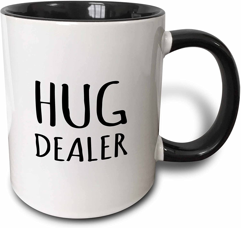 3dRose Dealer-Funny Hugging Humor-Black And White Text Design Two Tone Mug, 11 oz, Multicolor