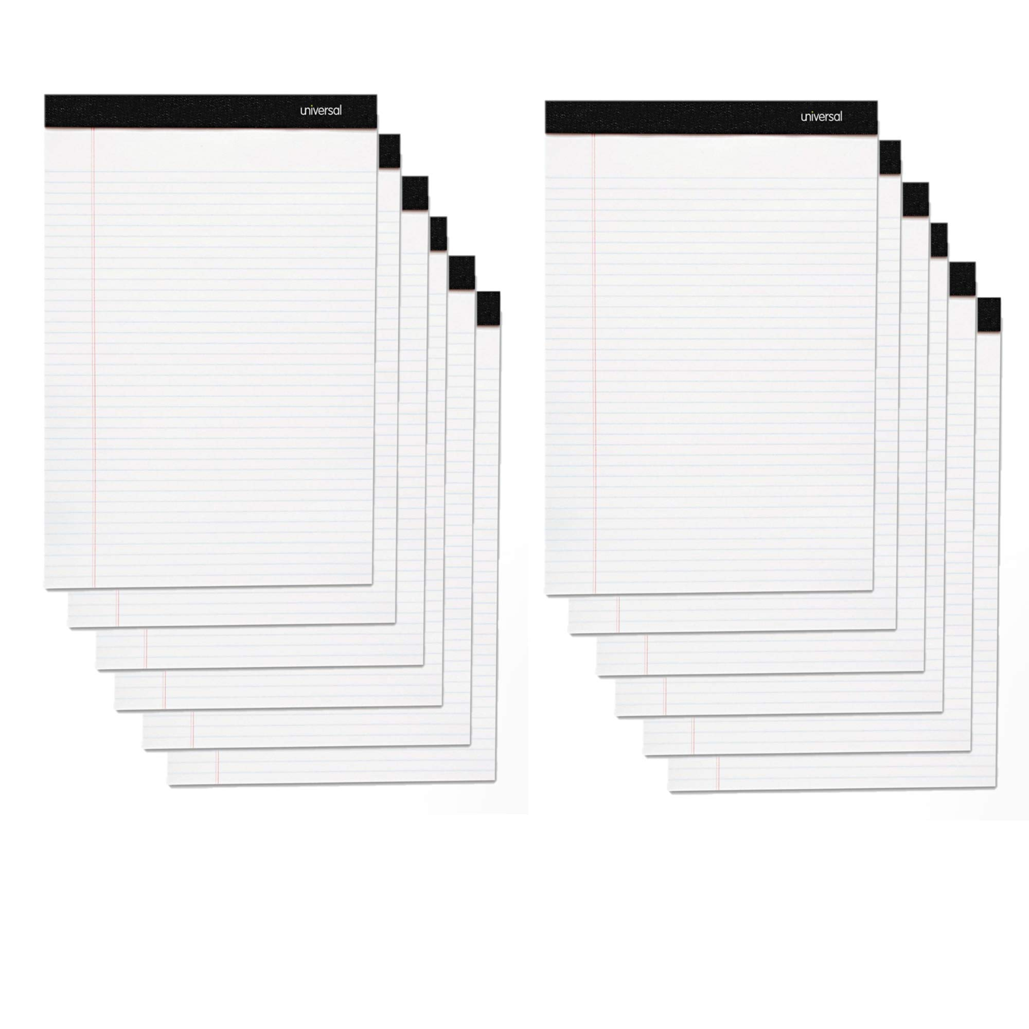 Universal 30630 Premium Ruled Writing Pads, White, 8 1/2 x 11, Legal/Wide, 50 Sheets (12) by Universal One