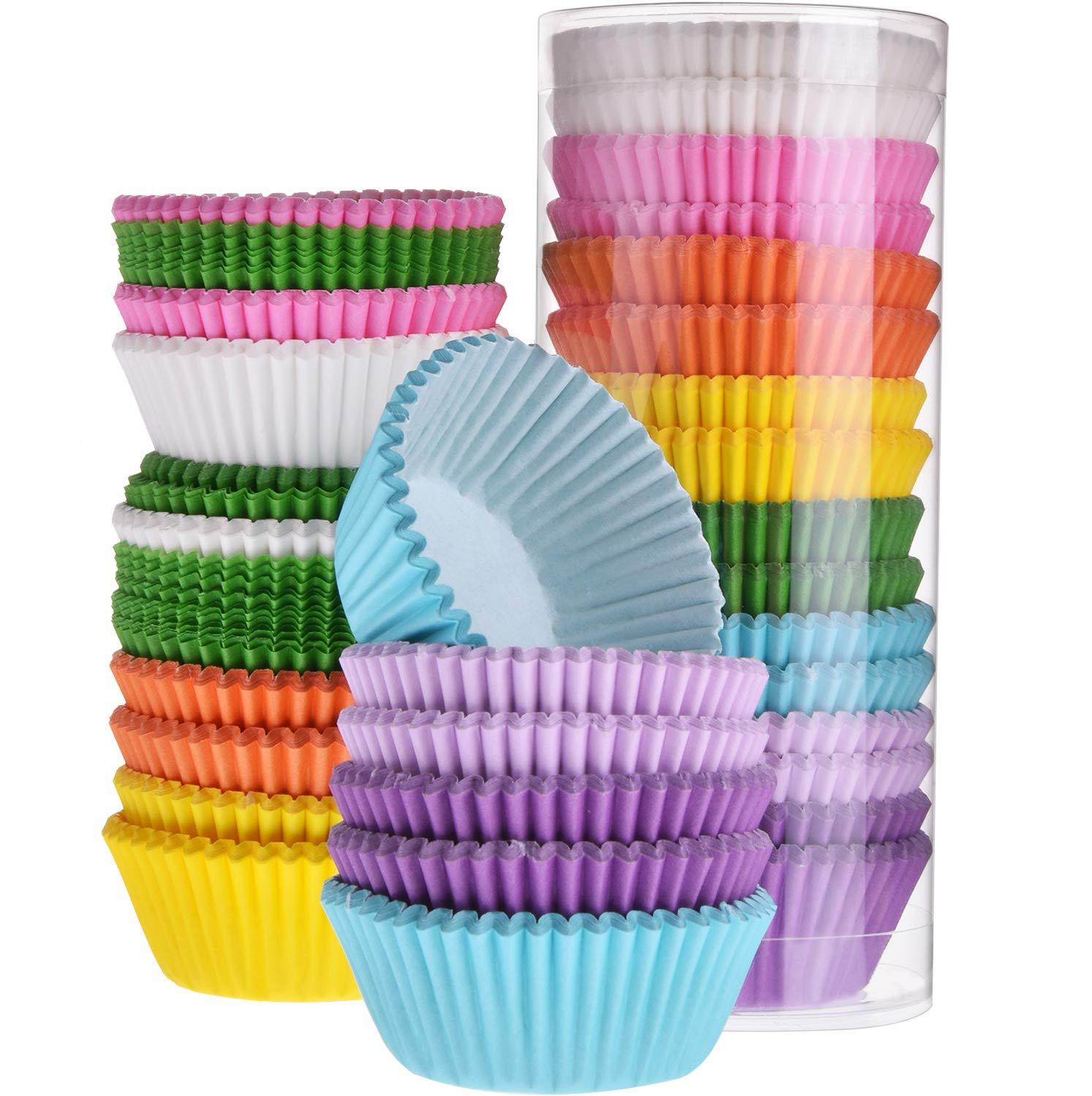 TecUnite 400 Pieces Rainbow Color Muffin Cups Greaseproof Mini Muffin Cupcake Liners Baking Paper Cup for Candies Cupcakes Muffins Decoration (1.97 inch Diameter)