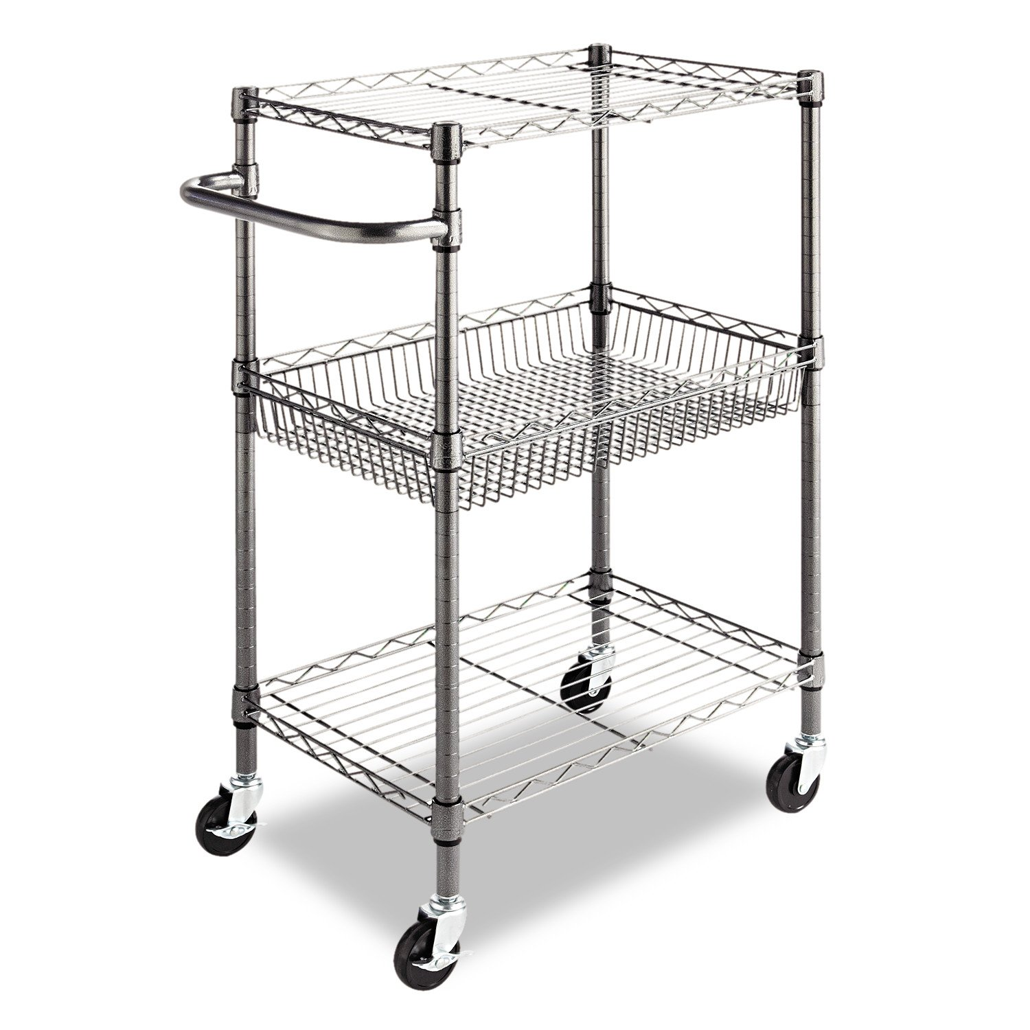 Alera 3-Tier Wire Rolling Cart, 3-Tier Wire Rolling Cart,28w x 16d x 39h, Black Anthracite