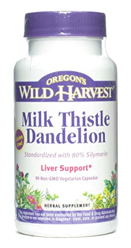 Milk Thistle Dandelion Extract Standardized to 80 Silymarins 90 Capsules