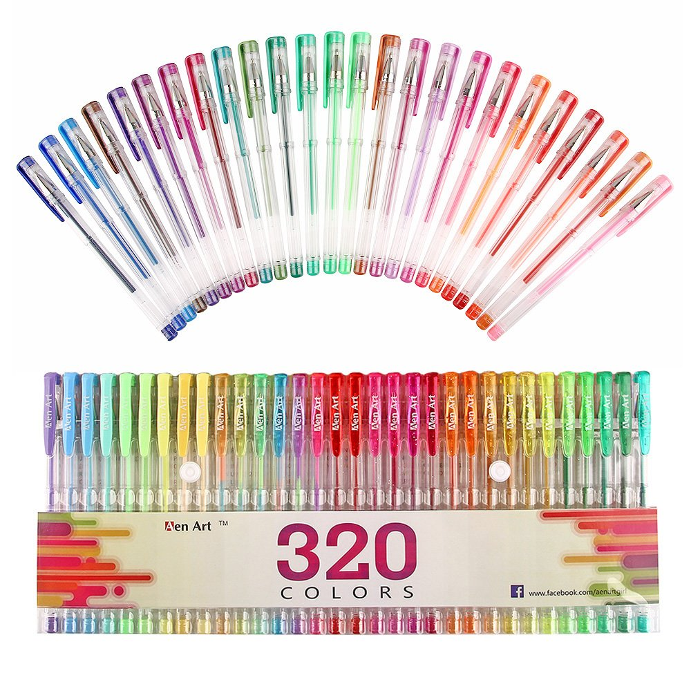 Aen Art 160 Colored Gel Pen Set with 160 Refills Perfect for Adult Coloring Books, Drawing, Painting and Writing - Giving 320 Brilliant Gel Colors by Aen Art (Image #2)
