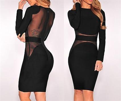 d5afe5aa19 Kaured Fashion Bandage Dress Winter Black White Dress Long Sleeve ...