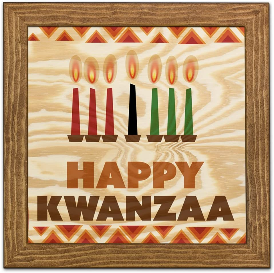 "Framed Wood Wall Art/Decorative Sign 9"" x 9"" - Happy Kwanzaa"