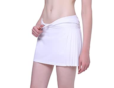 f74752570da Women s Skort Elastic Drawstring Pleated Tennis Skirt with Short Golf  Ladies White Plus Size Pockets Fashion High Waisted L Size 14   Amazon.co.uk  Clothing