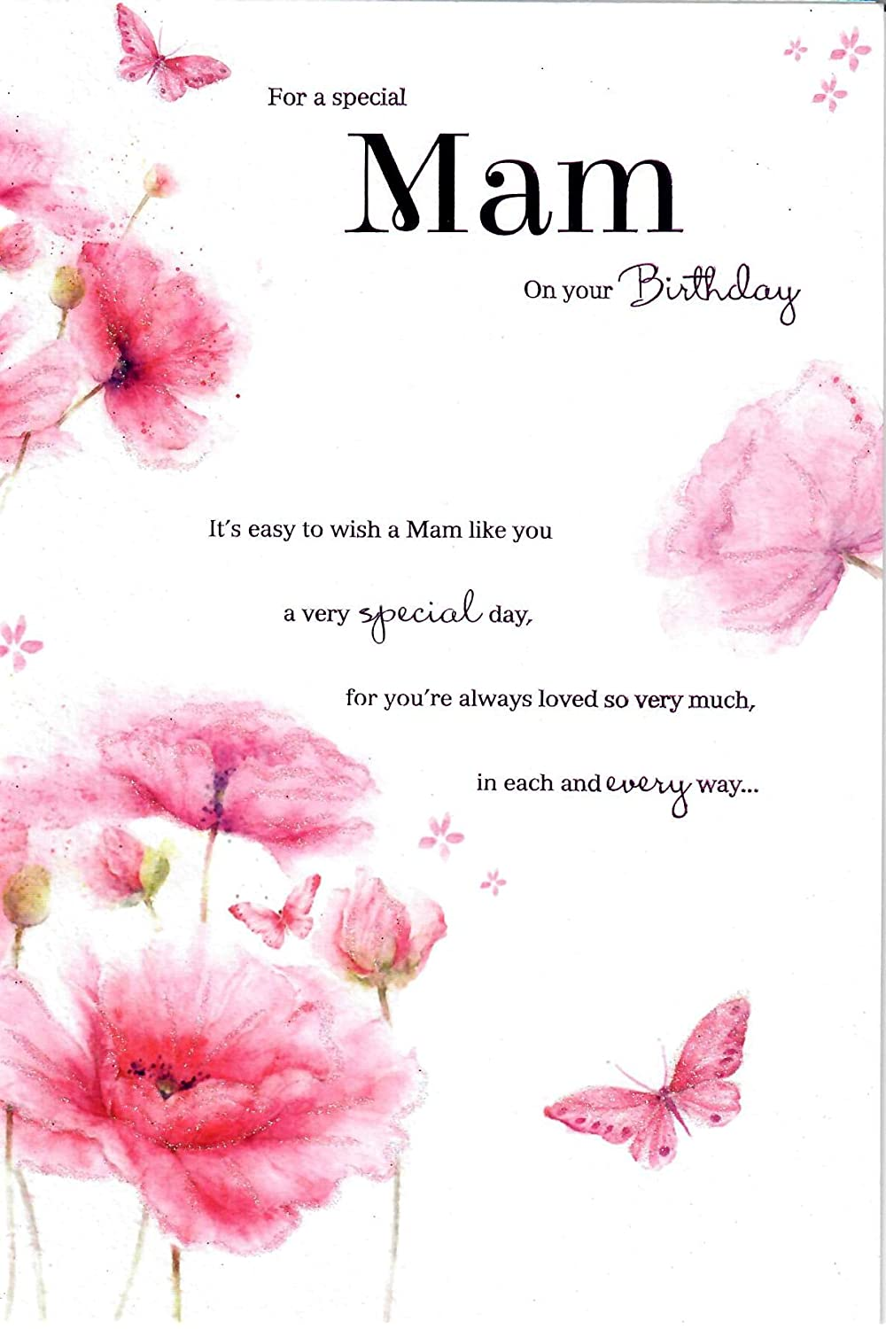 ICG Mam Birthday Card Flowers And Butterflies