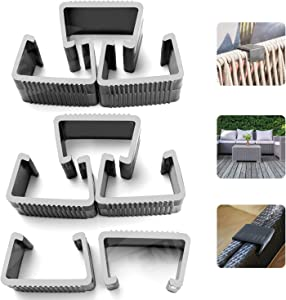 HENMI Patio Furniture Clips, Outdoor Wicker Furniture Rattan Chair Sofa Fasteners Clip Sectional Connector 8 PCS (Large)